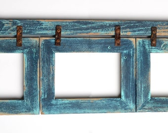 barnwood collage turquoise frame 3 5x7 multi opening frame rustic picture frame reclaimed cottage chic collage frame collage frame shabby
