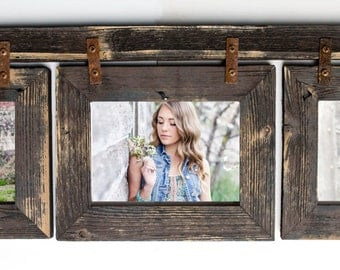 barnwood collage frame 3 hole 5x7 multi opening frame rustic picture frame reclaimed landscape or portrait collage frame