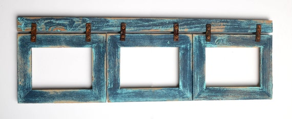 items similar to barnwood collage turquoise frame 3 5x7 multi opening frame rustic picture frame reclaimed cottage chic collage frame collage frame shabby