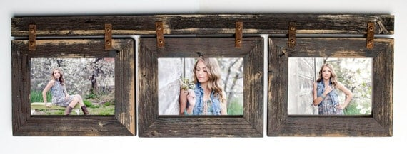 barnwood collage frame 3 hole 5x7 multi opening frame rustic picture frame reclaimed