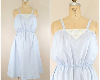 1970s Sundress • Baby Blue Country Dress • Vintage 70s Casual Summer Dress