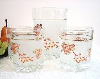 """Vintage Rocks Glasses, Frosted PINK GOOSEBERRIES with Gold, DeValBor Italy 5-Pc Set, Ice Bucket, 3 5/8"""" Cocktail Glasses, Barware"""
