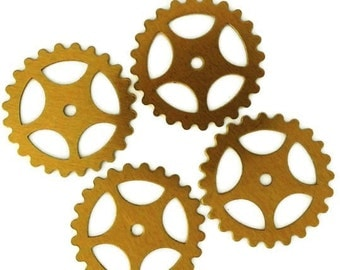 Steampunk Large Gears in Ox Antiqued Brass 25mm Qty 4 Lot Assemblage Altered Art Made in the USA