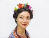 Frida Flower Crown, Flower Crown, Frida Kahlo Costume, Day of the Dead, Mexican, Rainbow, Flower Headband, Floral Headpiece, Fiesta,  Boho