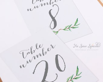 21-30 5x7 Reception Table Numbers - Printable - Flat Cards