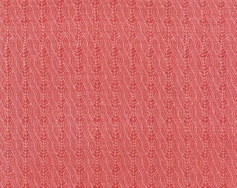 Winterberry Berry Red Cable Knit Print by Kate Birdie Paper Co for Moda