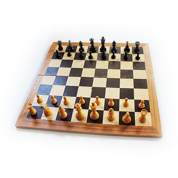 Vintage hand crafted wooden chess set made in france with for Hand crafted chess set