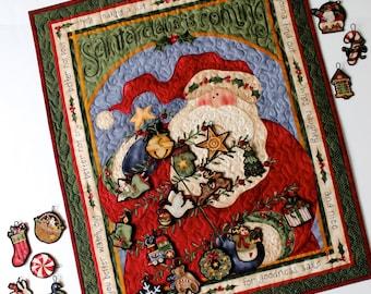 Advent Calendar, Quilted Santa Wall Hanging, Children's Christmas Activity, Christmas Tree, Sally Manke, Heirloom Fiber Art