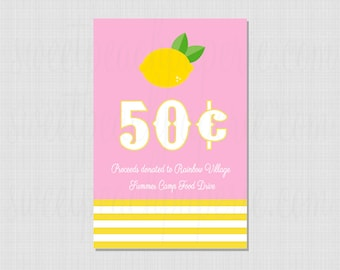 Lemonade Stand Collection: Printable Sign (Text Optional)