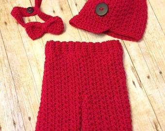 Crochet baby boy set, baby prop, newborn bow tie outfit