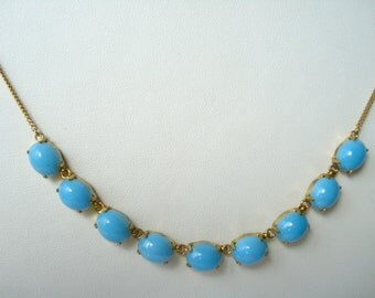 Vintage Opaque Turquoise Glass Necklace 50s 60s