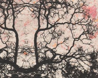 ZEN ART, Mandala art, etching on handmade paper