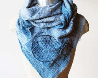 faded blue scarf, square scarf, cotton scarf, sacred geometry scarf, flower of life scarf