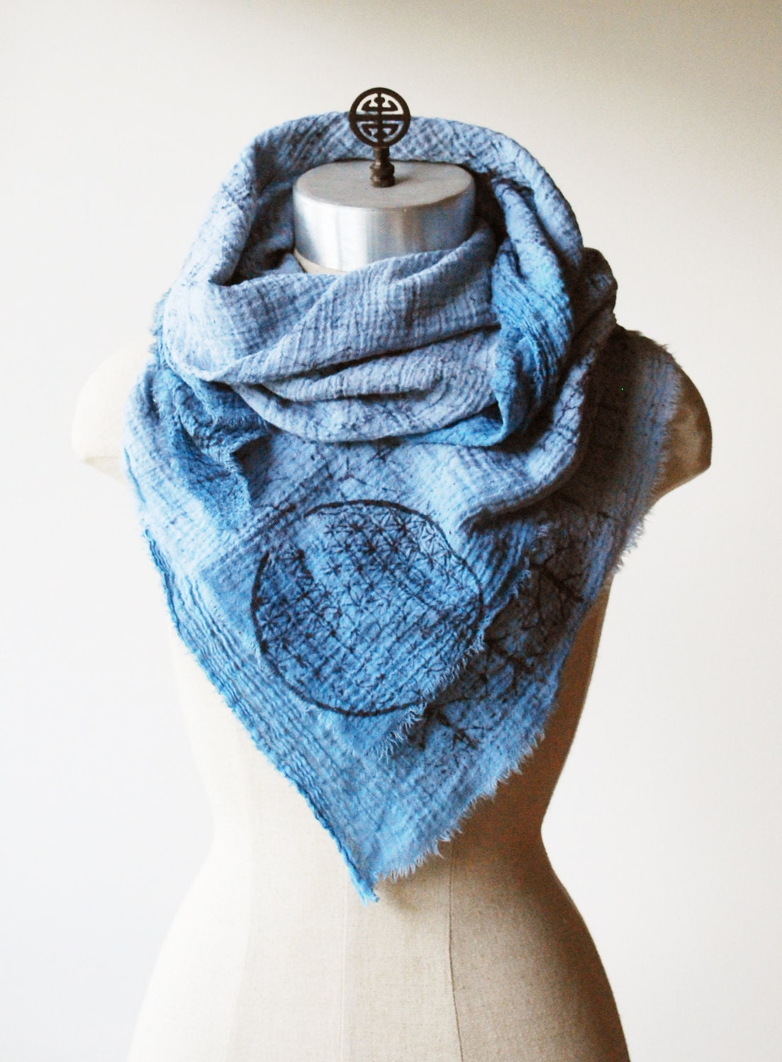 faded blue scarf square scarf cotton scarf sacred by