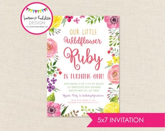 Wildflower Birthday Invitation, Wildflower Birthday, Wildflower Printables, Wildflower Birthday Decorations, Lauren Haddox Designs