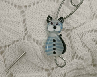 Shawl Pin, Kitty Cat recycled knitting needle Shawl Pin, Bent Spoon Jewelry, Shawl pin, Scarf Accessorie
