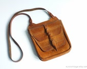 Vintage Small Brown Leather Shoulder Bag 70s