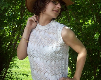 Vintage White Crochet Knit Sleeveless Sweater Crochet Top Summer Fashion