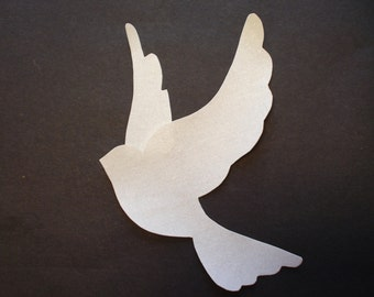 Dove Appliques white with Silver Sparkles for Quilts etc. Item 121