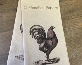 Cock Robin Tea Towel - Kitchen - Houseware - Rooster - Gift - Farmhouse - Country
