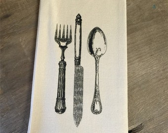 Knife, Fork, Spoon Tea Towel - Kitchen - Gift - Housewares - Home Decor