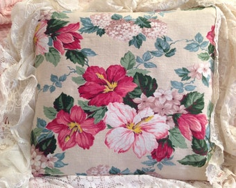 VINTAGE Hibiscus fabric Pillow COVER old HAWAIIAN material #1