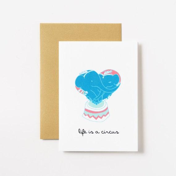Circus Elephants Love Greeting Card