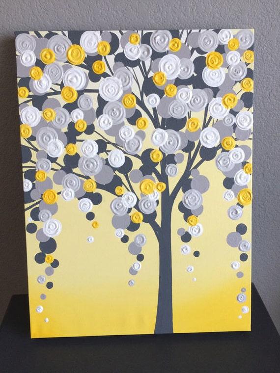 Art jaune et gris arbre textur de 18 x 24 peinture - Peinture jaune et gris ...