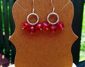 Gorgeous red orange beaded dangle earrings