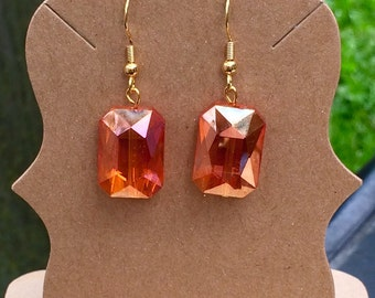 Gorgeous simple orange czech glass dangle earrings