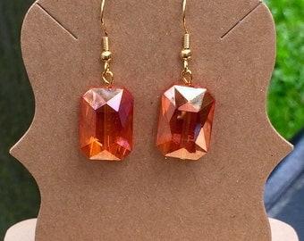 Gorgeous simple orange czech glass dangle earrings