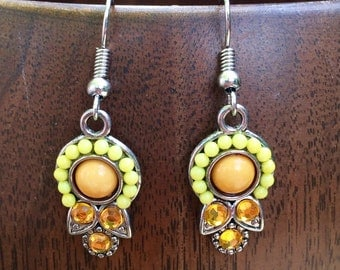 Gorgeous citrus medallion dangle earrings