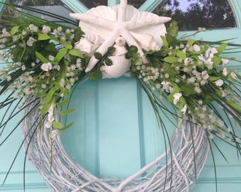 White Beach Wedding Wreath