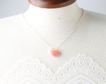 coral flower girl necklace, flower girl jewelry, coral girl necklace, coral wedding jewelry, coral flower girl jewelry, dainty  necklace
