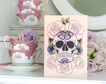 Sugar Skull on a Bed of Roses Day of the Dead Tattoo Handmade birthday Card