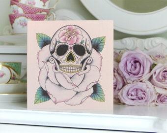 Tattoo Style Rose Sugar Skull Luxury Handmade birthday Card