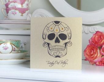 Sugar Skull and Daisy 21st tattoo birthday card