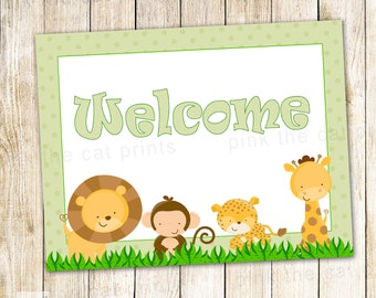 Jungle Welcome Sign - Printable Birthday Party or Baby Boy Shower Decoration INSTANT DOWNLOAD