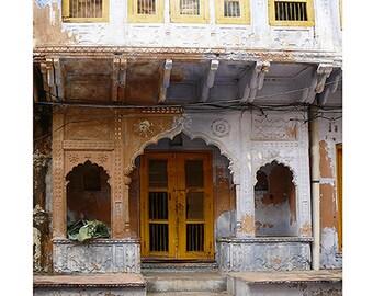 travel art Ancient doorway gate architecture  art archways India syamarts ochre white wash rust