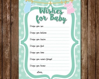 Wishes for Baby - Baby Shower/Gender Reveal Game - Gender Neutral *Printable*