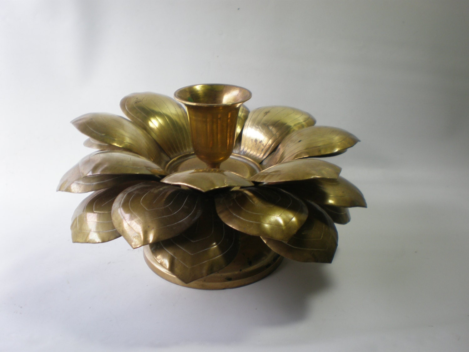 Vintage Brass Flower Candle Holder Brass Accent