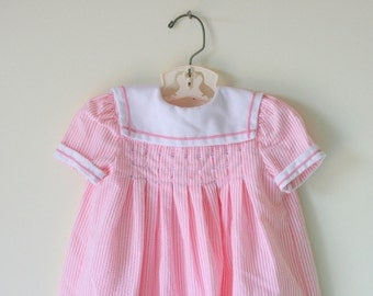 1960s POLLY FINDERS Pink Dress...size 24 months...hand smocked. girls. designer vintage. lace. floral. dainty. peasant. classic. wedding