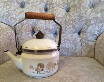 Asta Cream With Golden Tree Design Bronze lid And Wooden Handle Made In West Germany By Fissler Teapot Or Kettle