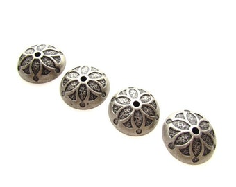4 Extra Large Metal Bead Caps / Textured Metal Bead Caps