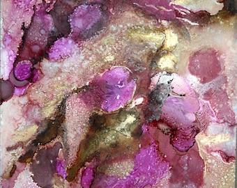 Purple Ink Art Print, Expressionist Art, Abstract Painting, Alcohol Ink Art, Abstract Wall Art, Metallic Art Work, Boho Decor, Feminine Art