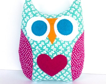 Personalized Owl Tooth Fairy Pillow - Aqua Print w/ Hot Pink dotted wings