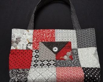 Charm Pack Purse or Small Tote-Chickens in Red, Black, White and Grey