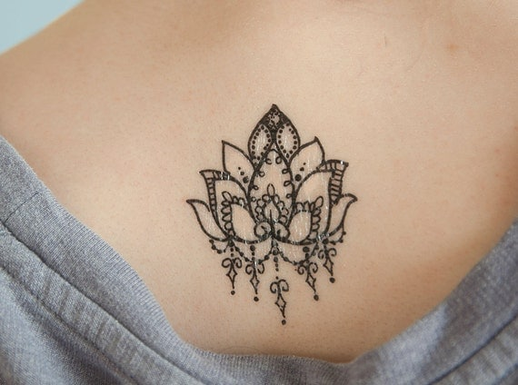 lotus flower temporary tattoo small temporary tattoo black. Black Bedroom Furniture Sets. Home Design Ideas