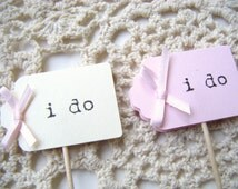 I do Cupcake Toppers, Light Pink or Beige with Light Pink Bow, Treat Toppers, Sweets Bar, Set of 12