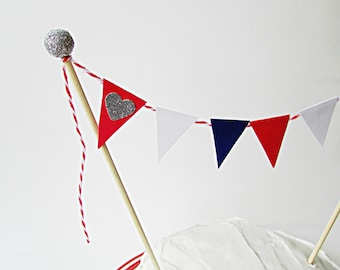 4th of July Cake Bunting Topper, Red White & Blue, Independance Day Cake Topper, Americana, 4th of July, Party Decor, Patriotic Cake Topper